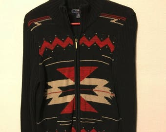 Women's zip up sweater by Chaps with an Aztec design