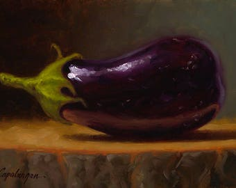 Baby Eggplant - Fine Art Giclee Print - Original Oil Painting - Still Life - Kitchen Decor