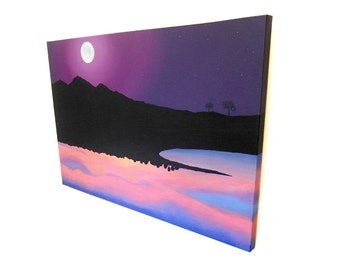 Landscapes of Opposite Sides of the World original art - large acrylic painting of night in the UK and sunrise in Australia (UK only)