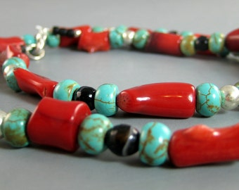 Native American Beaded Coral Necklace, Coral and Turquoise Necklace, Red Coral and Silver Necklace