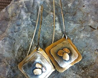 Bronze & Sterling Sliver Earrings