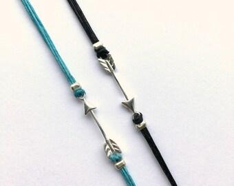 Arrow Bracelet, Sterling Silver Arrow, Linen Cord Casual Bracelet, Pi Phi Arrow, Ready to ship jewelry, graduation Gift, gift for woman