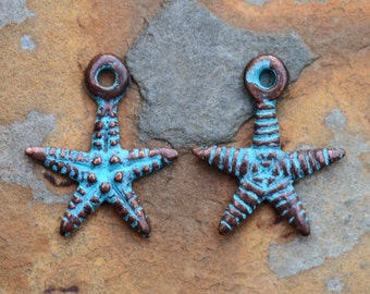 4 Starfish Charms 18mm Greek Charms, Green Patina Pendants