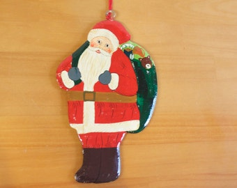 Vintage Hand painted wooden Santa Claus Father Christmas Ornament