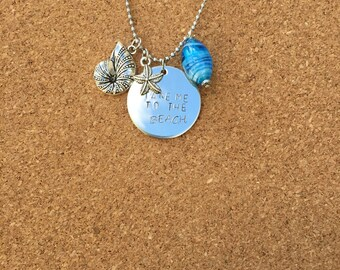 Take me to the beach handstamped necklace