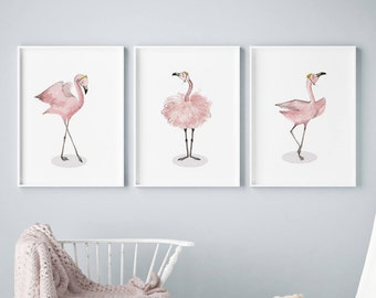 Set of 3 flamingo Wall Art, Ballerina Painting, Flamingo Nursery Art, nursery decor, Pink Ballerina Room Decor, Girls Pink Wall Art