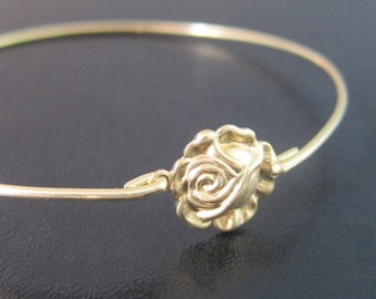 Rose Flower Bracelet, Gold Rose Bracelet, Rose Bangle, Rose Jewelry, Flower Bangle, Gold Flower Bracelet, Victorian Jewelry, Flower Jewelry