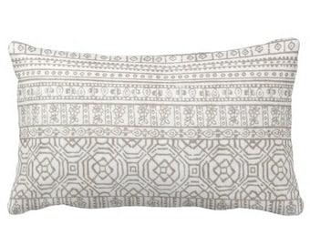 neutral outdoor pillows, outdoor pillow covers, outdoor chair pillows, 12x16 12x18 pillow covers, tribal pillows, grey lumbar pillow covers