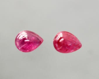 3.24 Cts Natural Ruby Pear Cabochon Vivid Pinkish Red