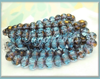 25 Aqua and Bronze Czech Glass Beads, Rondelle Beads, 7mm x 5mm Beads, Faceted Rondell Beads Aqua & Bronze CZN2