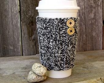 Coffee Sleeve in Black and White Marled Yarn with Natural Wood Buttons, Coffee Cup Cozy, Mug Cozy, Travel Mug Cozy, Mug Sleeve,