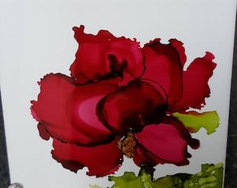 Red Flower Alcohol Ink on tile