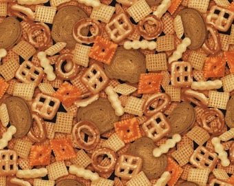 Timeless Treasures Party Chex Mix Snack Food Premium 100% cotton fabric (TT407)