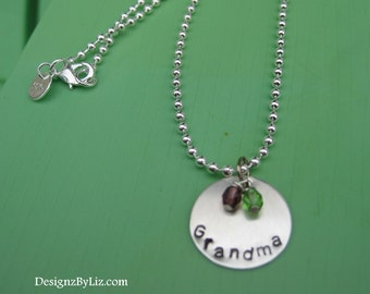The Grandma, personalized hand stamped sterling silver necklace with two birthstone charms