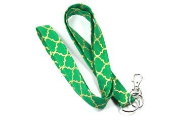 GREEN Fabric lanyard, Fabric badge Holder, Green Fabric lanyard, Green Badge Holder