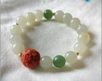 Chinese Art jewelry,White and green Nephrite Smooth Round Stretch Bracelet,with red flower agate,Bead with 14k gold filled