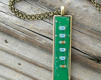 Circuit Board necklace. Motherboard necklace made from an upcycled computer part. Geek girl or IT / tech woman gift