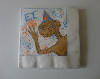 VINTAGE 80s new old stock dead stock E.T. paper party NAPKINS - package of 16 napkins - ambassador napkins - 80s e.t. extra terrestrial