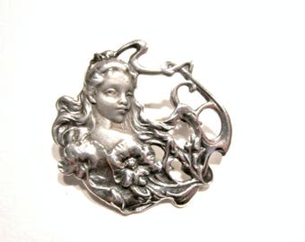 Vintage Sterling Repousse Brooch Art Nouveau Woman Face Pin Pendant Detail Flower Oxidized Brooch Gift for Her Woodland Nature Fairy Jewelry