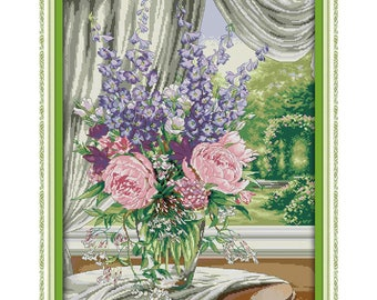 Window Vase (2) Counted Cross Stitch 11CT Printed 14CT Handmade Cross Stitch Set Flowers Cross-stitch Kits Embroidery Needlework