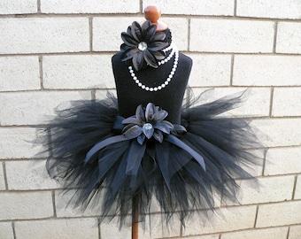 Black Tutu - Midnight Pixie Tutu - Custom Sewn Tutu - 11'' Pixie Tutu - Girls sizes 6 to 8