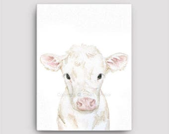 White Calf Watercolor Painting 12 x 16 Gallery Wrapped Canvas Print - Farm Animal - Nursery Art