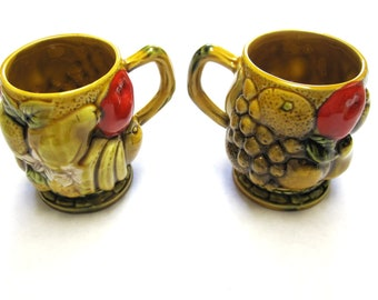 1960s Coffee Cups Mugs Harvest Gold Fruit