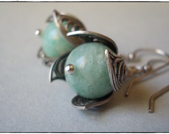 Amazonite Drop Earrings Natural gemstone and silver earrings peruvian blue flower petal filigree dangle earrings women chic romantic shabby