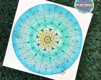 ORIGINAL Watercolour Mandala