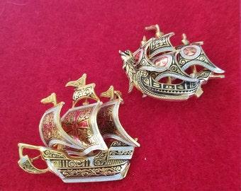 2 Damascene ship brooch Spain signed