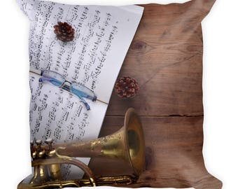 Trumpet pillow, Music Pillow, music decor, Music Bedding, Music Room Decor, Musician Gift, Decorative Pillows, music decor, Music Gift,