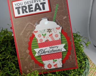 Latte Gift Card Holder -- Christmas Gift Card Holder -- Milk Shake Gift Card Holder --  You Deserve a Treat -- Gift Card Holder