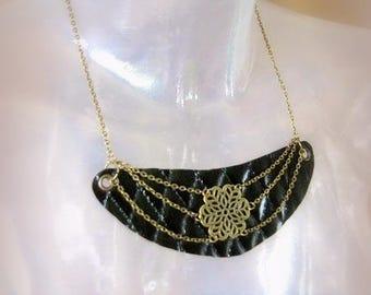 Black faux leather bib necklace Unique brass necklace