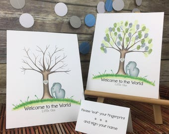 INSTANT DOWNLOAD Thumbprint tree guest book | elephant baby showr | elephant nursery | fingerprint tree | Jungle nursery | custom guestbook