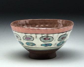 Bunte Schale aus Keramik, von Hand geworfen Rad geworfen Keramik, geometrische Muster, eingeklemmten Tonschale, Polka-Dot Muster, Schale, rote Steinzeugton