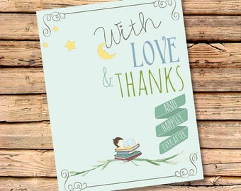 FREE SHIPPING & PERSONALIZATION Book Theme Once Upon a Time Baby Shower Thank You Card Set | Book Themed Baby Shower Invitation | Notecards