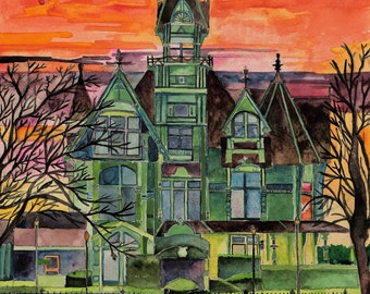"Watercolor print of Original Painting ""Carson Mansion in Rhapsody"" Victorian located in Historic Eureka, California"