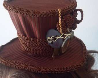 elegant steampunk lady of science victorian mini top hat