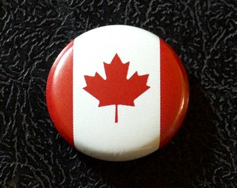 "1"" Canada flag button, country, pin, badge, pinback, Made in USA"