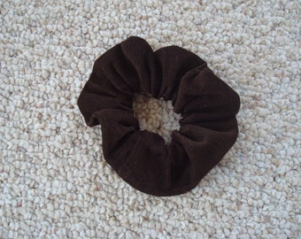 Chocolate Brown Corduroy Scrunchie , Ponytail Holder , Fashion Accessory , Handmade , Made in USA