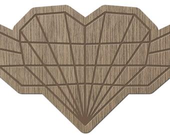 HEART - ORIGAMI - laser cut wood - brooch