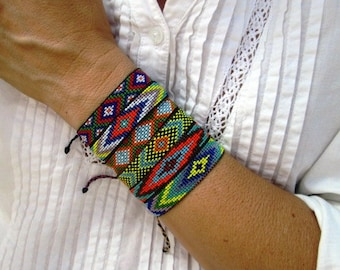 Huichol Native American Inspired Multi-Colored, Beaded Friendship Bracelet 106