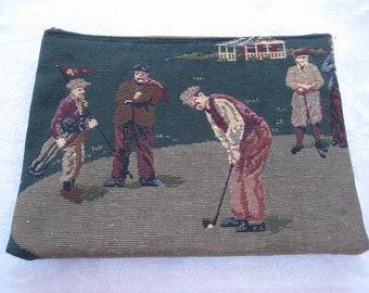 Golf theme Makeup Bag,  Golf Tapestry fabric bag, golf bag