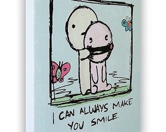 """I Can Always Make You Smile - On a Stretched Wooden Canvas Frame - 8"""" x 7"""" x 05"""" (Light Blue)"""