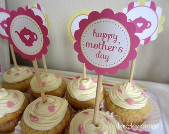 Instant Download Mother's Day Toppers Printable Cupcake Toppers DIY Tags Embellies Mothers Day Tea Decor Mothers Day Brunch
