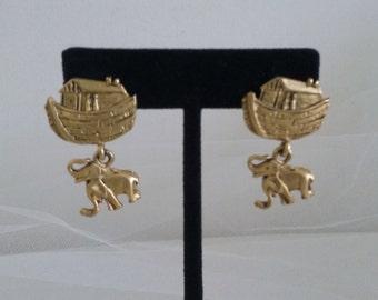Noah's Ark Gold Tone Pierced Earrings // Noah's Ark Jewelry