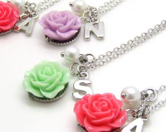 Personalized flower girl necklace  • children's jewelry • flower girl gift personalized • wedding jewelry kids • girls flower necklace