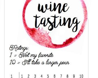 Wine Tasting Scorecard - Wine Tasting Card - Wine Tasting Party