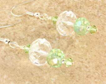 Mint Green Crystal Clear AB Swarovski Crystal Earrings Silver Metal Beaded Dangle