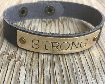 ONE Leather Cuff Bracelet - Name Bracelet - Personalized, Inspirational Gift for her hand Stamped custom coordinates unisex jewelry
